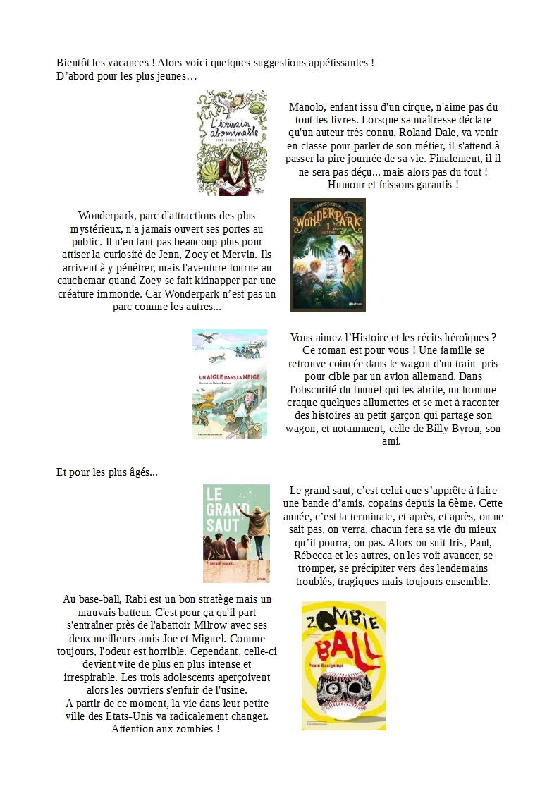 Petite Selection Pour De Bonnes Vacances Mediatheque College Jean Jacques Faurie
